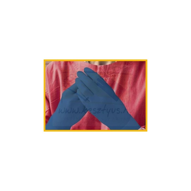 AMBULANCE megerősített, kék, hosszú szárú, vizsgálókesztyű (S, M, L, XL)