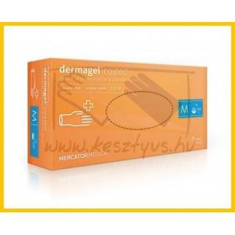 DERMAGEL PF, standard minőségű, púdermentes latex vizsgálókesztyű érdesített tenyérrésszel, belső latexmentes réteggel