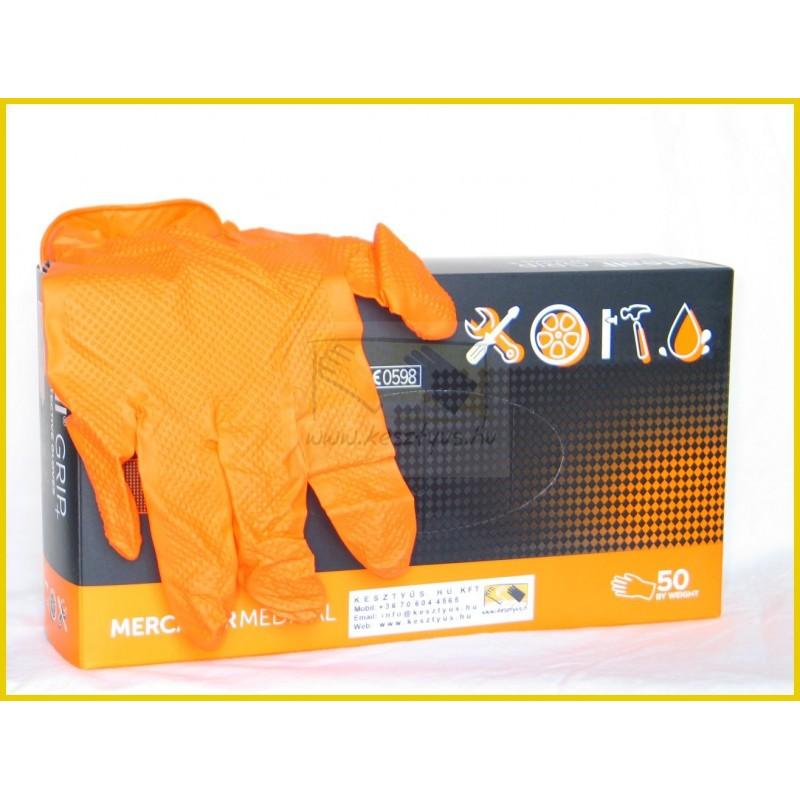 IDEALL GRIP + ORANGE, gyémántszerű textúra,  púdermentes, nitril anyagú, narancs színű, tartósabb  kesztyű, 50 db/doboz