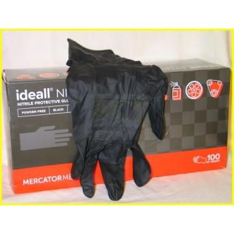 IDEALL NITRYLE MOTO BLACK szereléshez /100db púdermentes erős nitril, fekete védőkesztyű/ ÚJ!!!
