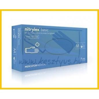 AKCIÓ! NITRYLEX Basic Blue, Prémium Nitril púdermentes nitril kék kesztyű /100db