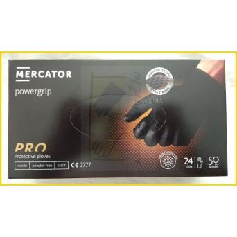 ÚJ! POWERGRIP BLACK A50 gyémántszerű textúra, púdermentes, nitril, fekete, vastagabb kesztyű 50 db/doboz